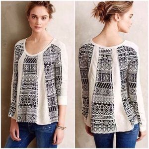 Anthropologie Lilka Geo Jacquard Swing Sweater